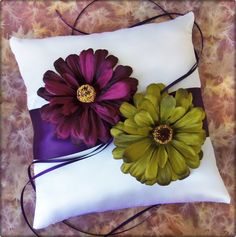Wedding Ring Pillow Deep Purple Plum and Green Wedding Ceremony Accessories. $40.00, via Etsy.