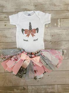 Unicorn  Birthday tutu outfit,First Birthday Outfit Girl,Rag tutu, first Birthday,Girls  Birthday Outfit Unicorn, tutu set