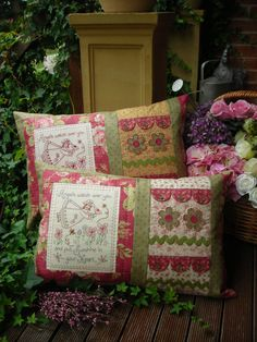 Angels  pretty stitchery and pieced pillow pattern  The by kate54, $11.95