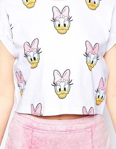 ASOS Cropped T-Shirt with Daisy Duck Glitter Print