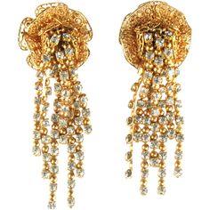 "Napier Crystal Rhinestone Tassel Earrings - offered by Ruby Lane shop ""Anna's Vintage Village."""