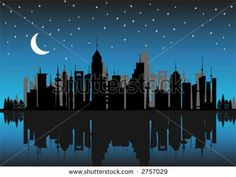i like the reflection, i like that some buildings are black and some are grey, i like the moon and the stars