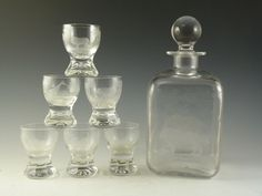 ROWLAND WARD Crystal - Liqueur or Shot Glass & Decanter Set