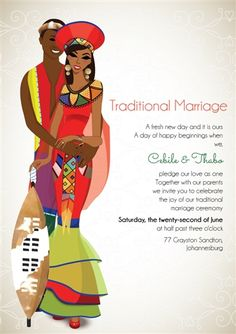 Zulu Wedding: South African Zulu Traditional wedding invitation Card