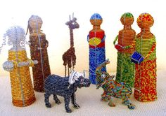 NATIVITY SET - African Wire and Bead Art - Unique African-Inspired Nativity Scene -