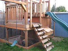 I love these coops and kids play designs  Google Image Result for http://www.southwestwashingtonzest.com/wp-content/uploads/2010/07/Play-Structure-Chicken-Coop.jpg