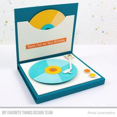 Card record player LP music MFT for the record Die-namics, MFT Turntable Die-namics Stamps: For the Record Die-namics: Turntable Stencil: Card-Sized Confetti Stencil Set Anna Lorenzetto Scrapbooking Photo, Diy Scrapbook, We Will Rock You, Mft Stamps, Record Player, Masculine Cards, Paper Cards, Handmade Decorations, Clear Stamps
