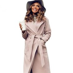 MVGIRLRU elegant Long Women's coat lapel 2 pockets belted Jackets solid color coats Female Outerwear-in Wool & Blends from Women's Clothing on AliExpress Long Overcoat, Long Wool Coat, Coats For Women, Jackets For Women, Clothes For Women, Basic Clothes, Langer Mantel, Polyester Material, Coat Sale