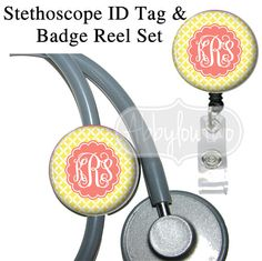 Badge Reel Holder and Stethoscope ID Tag Set Badgereels : Personalized with Your Initials Preppy