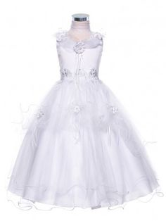 White Enchanting Flower Embroidered Tulle Flower Girl Dress (Sizes 2-16 in 4 Colors)