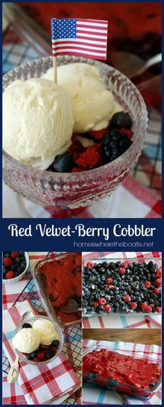Red Velvet-Berry Cobbler! Easy, oh so good, and the star of your Memorial Day or July 4th celebration with its red, white, and blue if you top it with Vanilla or Cream Cheese Ice Cream! #patriotic #redvelvet #memorialday #july4th