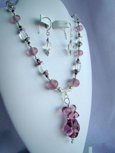 Pink Goddess Lampwork glass necklace set by ChakraLoversJewelry, $250.00