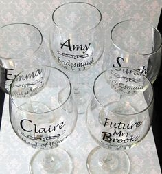 Wedding Decoration DIY Wedding Bride and Bridesmaid Wine Glasses Vinyl Decal Stickers free shipping,MOQ $ 5-in Wall Stickers from Home & Gar...