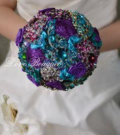 Wedding Bouquet Purple Brooch Bouquet Peacock by LoveBouquet Purple Brooch Bouquet, Turquoise Bouquet, Bling Bouquet, Crystal Bouquet, Purple Wedding Bouquets, Wedding Brooch Bouquets, Peacock Wedding, Bride Bouquets, Flower Bouquet Wedding