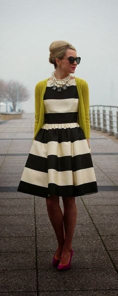 #Striped with a #yellow #cardigan #dress