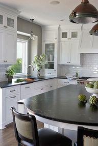 white cabinets blue gray walls - Google Search