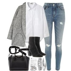 white shirt, gray coat, distressed jeans, black booties