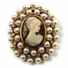 Pearl Crystal Cameo Brooch (Gold Tone) Avalaya. $27.45. Occasion: anniversary, mothers day, cocktail party. Style: cameo. Type: crystal. Gemstone: faux pearl, diamante. Metal Finish: gold plated