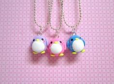 Penguin Friendship Kawaii Cute Polymer Clay Charms BFF Necklace 3 Piece Set via Etsy by melinda Polymer Clay Animals, Cute Polymer Clay, Cute Clay, Fimo Clay, Polymer Clay Projects, Polymer Clay Charms, Polymer Clay Creations, Clay Crafts, Bff Necklaces
