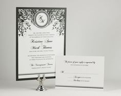 Printable Wedding Invitations Black and White Wedding Invitations Monogram Wedding Invitations Digital File for Self-Print