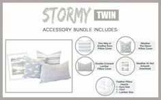 This is one storm you will want to weather for sure! Our Stormy bundle is clean, bright and neutral and it's got everything you need to create a jaw-dropping living space. Euro Pillow Covers, Pillow Inserts, Grey Bedding, Bedding Sets, Pillow Set, Lumbar Pillow, Beddys Bedding, Zipper Bedding, Feather Pillows