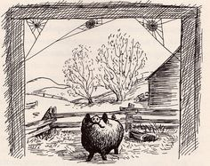 Charlotte's Web - written by E. White, illustrated by Garth Williams Garth Williams, Charlottes Web, Pig Art, Image Makers, Children's Book Illustration, Illustrations And Posters, Illustrators, Book Art, Vintage World Maps
