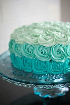 Aqua (teal, Tiffany Blue or turquoise) Ombre Rose Cake. Would be GORGEOUS as a baby shower cake! Pretty Cakes, Cute Cakes, Beautiful Cakes, Amazing Cakes, Sweet 16 Cakes, Cake Roses, Wedding Shower Cakes, Bridal Shower, Shower Baby