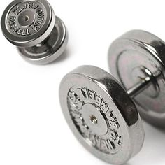 316L Surgical Steel Faker 12mm Black Dumbbell IP Faux Plugs Pair #Stud