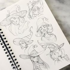 Here's the full page of witches with cool hats Cartoon Drawings, Drawing Sketches, Art Drawings, Character Design Tutorial, Character Design Inspiration, Witch Drawing, Drawing Hats, Poses References, Witch Art
