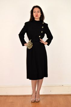 1940s Black Dress with Leopard Print Buttons and Purse