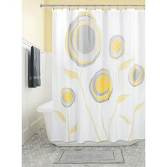 Bring your bathroom's style into full bloom with the stylized marigolds of this Botanical shower curtain from Interdesign. The quick-drying, mold- and mildew-resistant design helps keep it fresh for a lasting look. Shower Curtains Walmart, Shower Curtain Hooks, Fabric Shower Curtains, Shower Liner, Colorful Curtains, Laundry In Bathroom, Mold And Mildew, My New Room, Bathroom Accessories