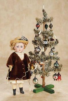 "De Kleine Wereld Museum of Lier: 110 Bisque ""Mein Liebling"" by K*R with Vintage Miniature Christmas Tree"