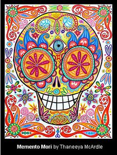 Day of the Dead Art: A Gallery of Colorful Skull Art Celebrating Dia de los Muertos — Art is Fun Sugar Skull Art, Sugar Skulls, Colorful Skulls, Day Of The Dead Skull, Arte Popular, Skull Design, Mexican Folk Art, Art Plastique, Adult Coloring
