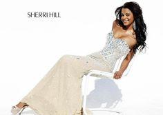 Off White long-Sherri Hills dress.