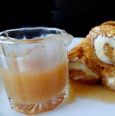 Pumpkin Roll Pancakes with cinnamon cream syrup