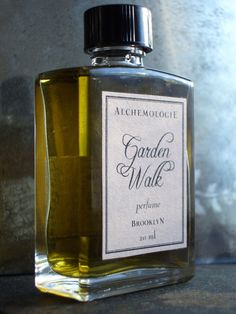 Garden Walk Natural Perfume by Alchemologie (Herbal Alchemy).  This fragrance is inspired by a garden walk in June. Earthy notes like orris root, ambrette and hay represent the fertile soil of these gardens, floral middle notes such as tuberose and neroli round it out and it ends with top notes of petitgrain and elemi. Even the bees are represented in this formula with the addition of honey absolute.