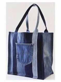 Хозяйственная сумка из старых джинсов. Фотообзор: 9 идей