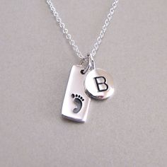 Silver Initial & Baby Footprint Charm by tangerinejewelryshop, $56.00