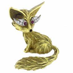 1960s Round Cut Diamond & Round Cut Ruby Enamel 18k Yellow Gold Fox Pin - See more at: http://www.newyorkestatejewelry.com/pins/vintage--diamond--ruby-enamel-fox--pin-/25083/9/item#sthash.2cVJr4ME.dpuf