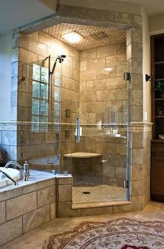 """""""What a beautiful shower and tub arrangement for a log home!"""" http://bit.ly/shower-and-tub-209?utm_content=buffer78c55&utm_medium=social&utm_source=pinterest.com&utm_campaign=buffer"""