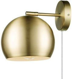 Novogratz x Globe Electric Novogratz x Globe Willow Plug-in or Hardwire Wall Sconce, Matte Brass, White Fabric Cord, In-Line On/Off Rocker Switch Gold Plug In Wall Lamp, Wall Lamps Bedroom, Sconces, Swing Arm Wall Lamps, Wall Sconces Bedroom, Matte Brass, Plug In Wall Sconce, Gold Globe, Glam Room