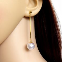 New Concise Style Simulated Pearl Pendant Gold Jewelry Brincos Stud Earring Women