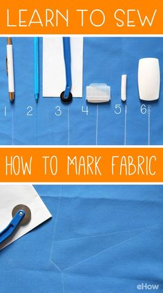 One of the steps you'll need when learning to sew is knowing how to mark your fabric. Test out these different methods and see which one works best for you! http://www.ehow.com/how_12343111_learn-sew-mark-fabric-before-cut.html?utm_source=pinterest.com&utm_medium=referral&utm_content=freestyle&utm_campaign=fanpage