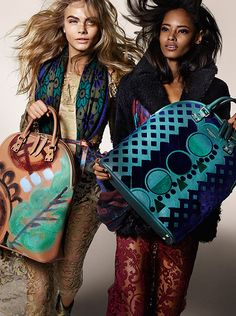 Cara Delevingne and Malaika Firth with The Bloomsbury bag in hand-painted leather and tufted velvet