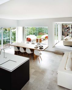 Minimal open plan kitchen/diner/family room