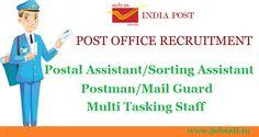 Post Office Recruitment 2017, POstman Jobs, Multi tasking Staff
