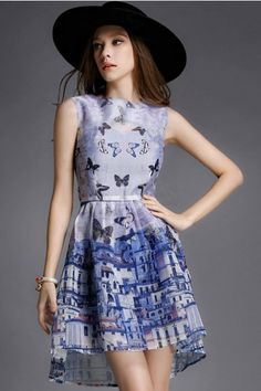 LUCLUC Butterfly Printed Two Piece Organza Dress Organza Dress e5fc1299a