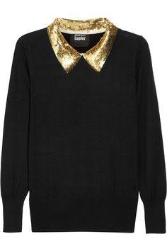Markus Lupfer Sequincollar Fineknit Wool Sweater in Black