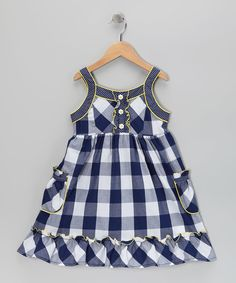 With polka dot trim and a pretty plaid print, this breezy silhouette blends nostalgic charm with girly style. A soft cotton blend means this sleeveless wonder will be as much of a pleasure to wear as it is to behold. Little Girl Outfits, Little Girl Dresses, Kids Outfits, Girls Dresses, Toddler Dress, Baby Dress, Toddler Fashion, Kids Fashion, Cotton Frocks