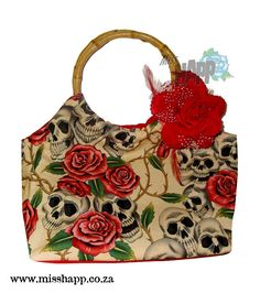 Rockabilly Tattoo skull & Rose Hand bag with bamboo by Miss Happ